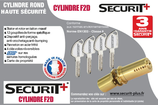 Cylindre F2D adaptable Fichet